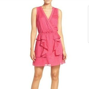 Adelyn Rae pink embroidery ruffle dress (E32-0)